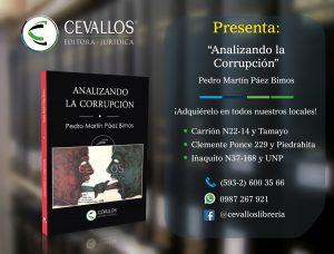 Portada Analizando la Corrupción - Pedro Páez Bimos - Cevallos editora jurídica