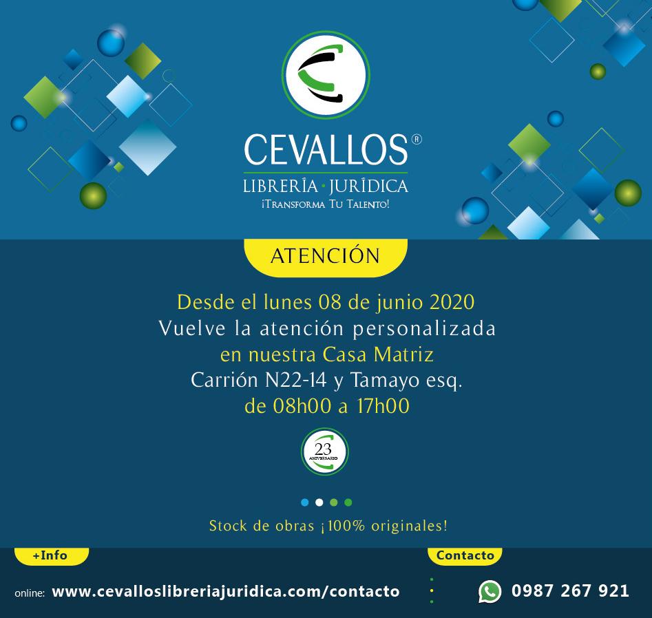 Cevallos librería jurídica - Reapertura Carrión N22-14 y Tamayo